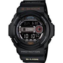 G-Shock Watch, Mens Digital Tidegraph Black Resin Strap 53x55mm GLX150