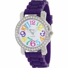 Geneva Platinum Women's 7871.Silver.Purple Purple Silicone Quartz Watch with White Dial