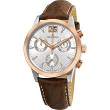 Grovana Mens Brown Leather Strap Chronograph Quartz Watch