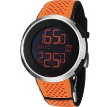 Gucci Men's 'I Gucci' Swiss Made Quartz Black Digital Dial Rubber Strap Watch ORANGE