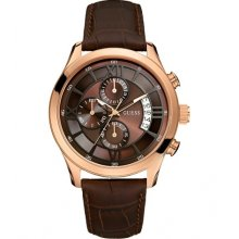 Guess Chrono Brown Croc Embossed Leather Mens Watch U14504G1