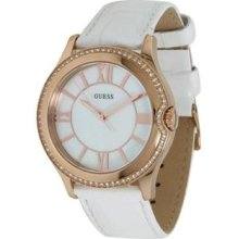 Guess Gold-tone White Leather Ladies Watch U11679l1