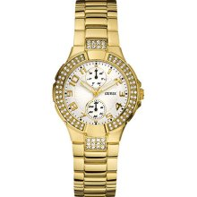 Guess Ladies Quartz Watch With Beige Dial Analogue Display And Gold Stainless Steel Strap W15072l1