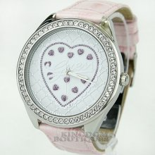 Guess Watch Ladies Sweet Logo Pink Leather Swarovski U85141l2 Montre
