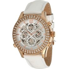 Guess White Leather Automatic Chronograph Ladies Watch