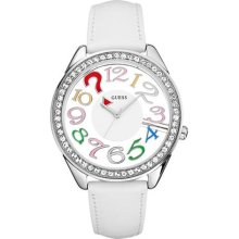 GUESS White Leather Ladies Watch U11066L1 ...