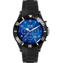 Ice-Watch Unisex Quartz Watch With Blue Dial Chronograph Display And Black Silicone Strap Ib.Ch.Bbe.B.S