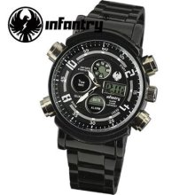 Infantry Mens Lcd Chronograph Sport Quartz Army Watch Black Stainless Steel Gift