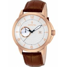 Invicta Men's Vintage Rose Gold Stainless Steel Case Leather Bracelet Silver Dial Day and Date Displays 12219