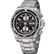 Kadloo Men's 'vintage Trophy' Black Dial Chronograph Automatic Watch
