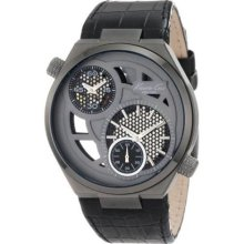 Kenneth Cole Mens New York Dual Time Stainless Watch - Black Leather Strap - Skeleton Dial - KC1777