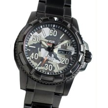 Men's Black Stainless Steel Seiko 5 Sports Automatic Camouflage Dial Day Date
