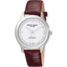 Mens Brown Leather Band White Dial Watch