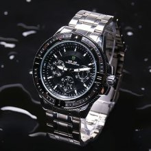 Mens Daily-waterproof Stainless Steel Three Dials Decoration Wrist Watch 103