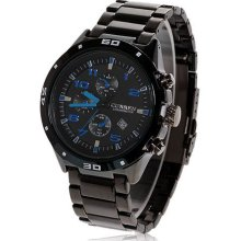 mens new Curren stainless steel quartz watch w/black & blue face black finish
