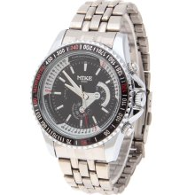 mens new Mike stainless steel chrome quartz watch black white & red face