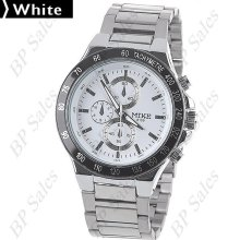 mens new Mike stainless steel chrome quartz dress watch white face & black bezel