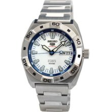 Men's Seiko 5 Sports Stainless Steel Case and Bracelet White Dial Day and Date D