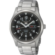 Mens Seiko Sport Automatic Watch Snzg13 Stainless Steel Black Dial