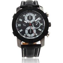 Men's Sport PC Quartz Watch Wrist with Black PU Leather Band