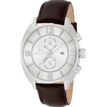 Men's Vintage Stainless Steel Case Leather Bracelet Silver Dial Day