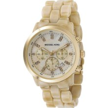 Michael Kors Ladies Ivory Tone Plastic Link Quartz Chronograph Gold Tone Mother Of Pearl MK5217