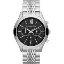 MICHAEL-KORS MICHAEL-KORS Brookton Silver Tone Black Dial Chronograph Watch