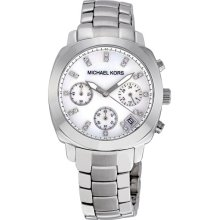 Michael Kors Silver-tone Mother of Pearl Dial Chronograph Ladies Watch MK5092