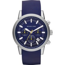Michael Kors Watch, Mens Chronograph Scout Blue Silicone Strap 43mm MK