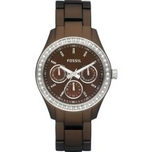 New FOSSIL Ladies Round Analog Brown Aluminum Watch Bracelet Crystals