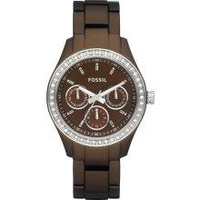 New FOSSIL Ladies Round Analog Brown Aluminum Watch Bracelet Crystals