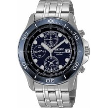 *NEW* SEIKO SNA793 Mens Watch Stainless Steel Alarm Chronograph Blue Dial