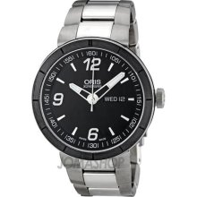 Oris TT1 Day Date Black Dial Stainless Steel Automatic Mens Watch 735-7651-4174MB
