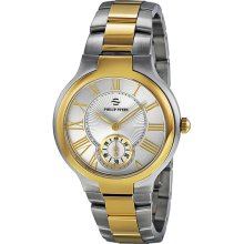 Philip Stein Signature Round White Dial Yellow Gold-pated Two Tone Unisex Watch 42TG-CWG-SSTG