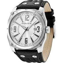 Police Dart Men's Quartz Watch With Silver Dial Analogue Display And Black Leather Strap 13405Js/04