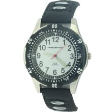 Predator Gents White Dial Watch With Black Strap And Bezel