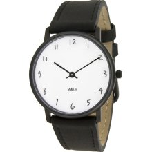 Projects Unisex Scratch Tibor Kalman Stainless Watch - Black Leather Strap - White Dial - 7406
