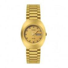 Rado Original Chronograph Gold 38mm Watch - Black Dial, PVD Bracelet R12949153 Sale Authentic Titanium