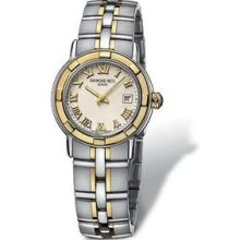 Raymond Weil Parsifal Beige Dial 18 kt Yellow Gold and Stainless Steel Ladies Watch 9440-STG-00808