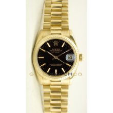 Rolex 31mm Midsize 18K Yellow Gold President Model 68278 Black Stick Dial