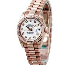 Rolex Datejust President 31mm Pink Gold Ladies Midsize Watch 178275