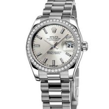 Rolex Datejust President 31mm Platinum Diamond Midsize Watch 178286