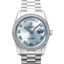 Rolex Day-Date President 36mm Platinum Diamond Mens Watch 118346