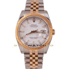 Rolex Mens New Style Heavy Band Stainless Steel & 18K Rose Gold Datejust Model 116231 Jubilee Band Fluted Bezel & Factory White Stick Dial