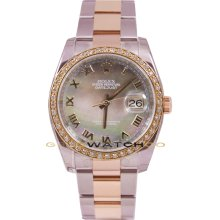 Rolex Mens New Style Heavy Band Stainless Steel & 18K Rose Gold Datejust Model 116231 Oyster Band & Factory Tehetian Mother Of Pearl Roman Dial & A 1Ct Rose Gold Diamond Bezel