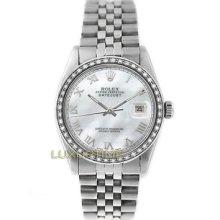 Rolex Mens Watch Ss Datejust 16014 Mop Roman Dial & 1ct Diamond Bezel Mint