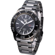 Seiko 5 Black Dial Black Stainless Steel Automatic Mens Watch SNZH59