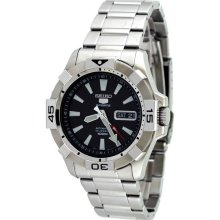 Seiko 5 Black Dial Stainless Steel Automatic Mens Watch SNZH11