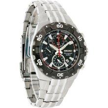 Seiko Alarm Quartz Chronograph Mens Black Date Dial Bracelet Dress Watch SNAD35
