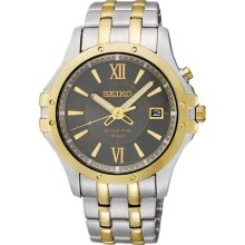 Seiko Kinetic Grey Dial Two-tone Stainless Steel Mens Watch SKA550